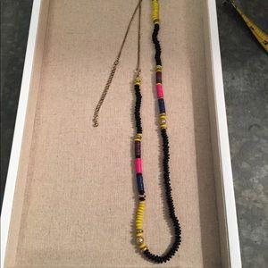 Old Navy beaded boho necklace black yellow blue